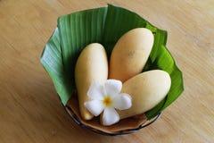 三在香蕉叶子照片的芒果 免版税库存图片