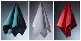 三块棉花餐巾 免版税库存图片