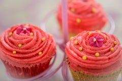 三块相当桃红色宝莱坞杯形蛋糕 库存照片