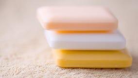 三块肥皂在毛巾的 免版税库存图片