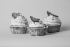 三块鲜美杯形蛋糕黑白照片在背景的 免版税图库摄影