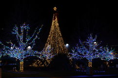 三城市Kennewick华盛顿Senske圣诞灯假日光每年轻的展示 库存图片