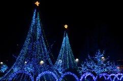 三城市Senske圣诞灯假日光每年轻的展示 库存图片