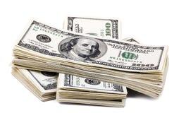 100张US$票据堆 免版税库存图片