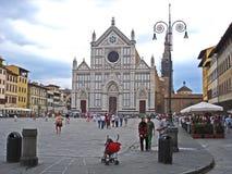 三塔Croce大教堂在佛罗伦萨在意大利 图库摄影