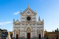 三塔Croce教会的门面在佛罗伦萨 库存图片