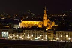 三塔Croce视图在晚上,佛罗伦萨 库存照片