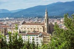 三塔Croce,佛罗伦萨,意大利,旅行目的地大教堂  免版税库存照片