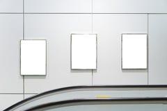 三大垂直的空白的广告牌 图库摄影