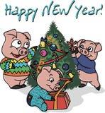 三头小的猪在新年 向量例证