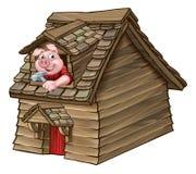 三头小的猪童话木屋 向量例证
