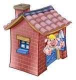 三头小的猪童话砖议院 库存例证