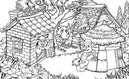 三头小的猪童话 向量例证