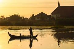 三宝垄河岸活动 三宝垄,印度尼西亚 库存照片