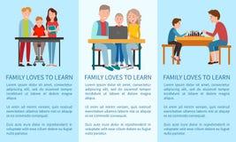 三家庭爱学会的和体育海报 库存例证