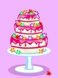 三层的桃红色蛋糕 免版税库存照片