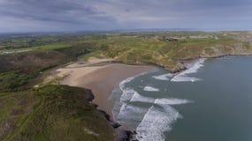 三峭壁海湾南威尔士 库存照片