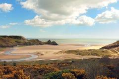 三峭壁海湾在威尔士 免版税图库摄影