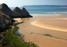 三峭壁海湾,半岛的Gower,南威尔士,英国 图库摄影