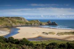 三峭壁海湾,威尔士 免版税库存图片