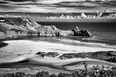 三峭壁海湾,威尔士 免版税图库摄影