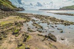 三峭壁海湾,斯旺西,英国 免版税库存图片