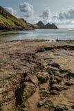 三峭壁海湾,斯旺西,英国 库存照片