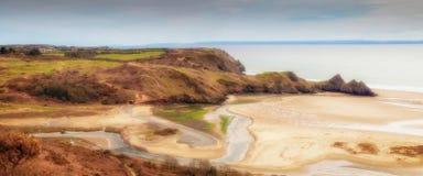 三峭壁海湾Gower全景  免版税库存照片
