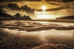 三峭壁海湾Gower 免版税图库摄影