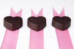 三巧克力丝带 库存照片