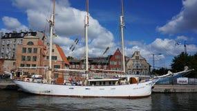 三帆柱帆船 库存照片