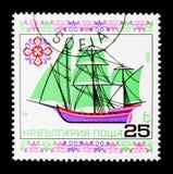 三帆柱Xebec船,历史的船v serie,大约1986年 免版税库存图片