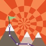 三座五颜六色的山和与旗子的白色斯诺伊上面的例证与足迹的在一个峰顶 创造性的背景 向量例证