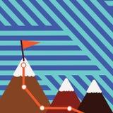 三座五颜六色的山和与旗子的白色斯诺伊上面的例证与足迹的在一个峰顶 创造性的背景 库存例证