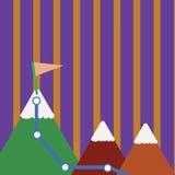 三座五颜六色的山和与旗子的白色斯诺伊上面的例证与足迹的在一个峰顶 创造性的背景 皇族释放例证