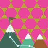 三座五颜六色的山和与旗子的白色斯诺伊上面的例证与足迹的在一个峰顶 E 向量例证