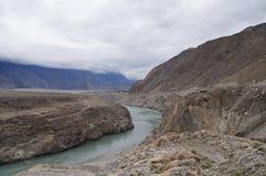 三座山连接点北巴基斯坦的观点 库存照片