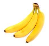 三开胃和在白色背景的鲜美香蕉 削皮的整个香蕉 成份滋补早餐 库存照片