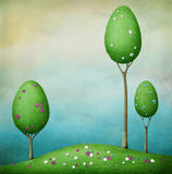 三开花的树。 向量例证