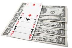三张相同和二张相同的牌 免版税库存照片