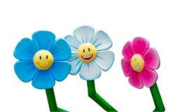 三微笑的向日葵隔离 免版税库存图片