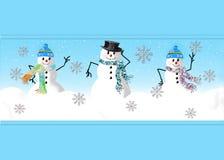 三愉快的雪人图表 库存照片