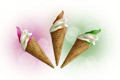 三意大利冰淇凌 免版税库存照片