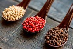 三把匙子用黑,桃红色和白色干胡椒 免版税图库摄影