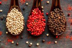 三把匙子用黑,桃红色和白色干胡椒 免版税库存图片