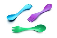 三把塑料匙子叉子 免版税库存图片