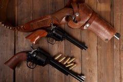 三把左轮手枪 免版税库存照片