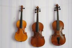 三把老小提琴垂悬在墙壁上 免版税图库摄影
