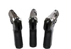 三把黑半自动手枪-冠上后面看法 免版税图库摄影
