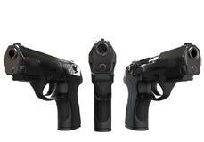 三把黑半自动手枪 免版税库存照片